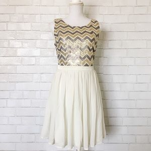 Forever 21 Gold & Silver Sequin & Chiffon Dress